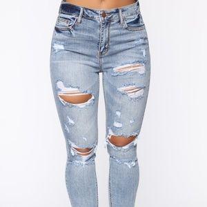 Fashion nova high waisted destroyed jeans